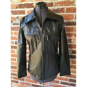 Outbrook Faux-Leather Jacket Zip Front Black S